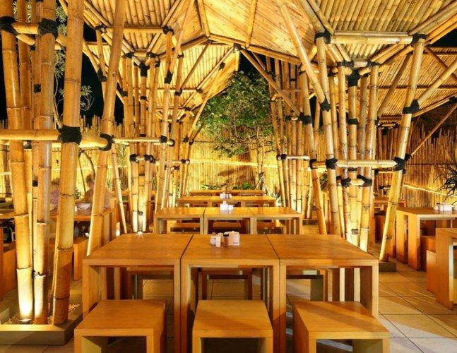Indonesian Bamboo Restaurant Is A Striking Open Air Design Bamboo Restaurant Japanese Restaurant Design Gallery Restaurant