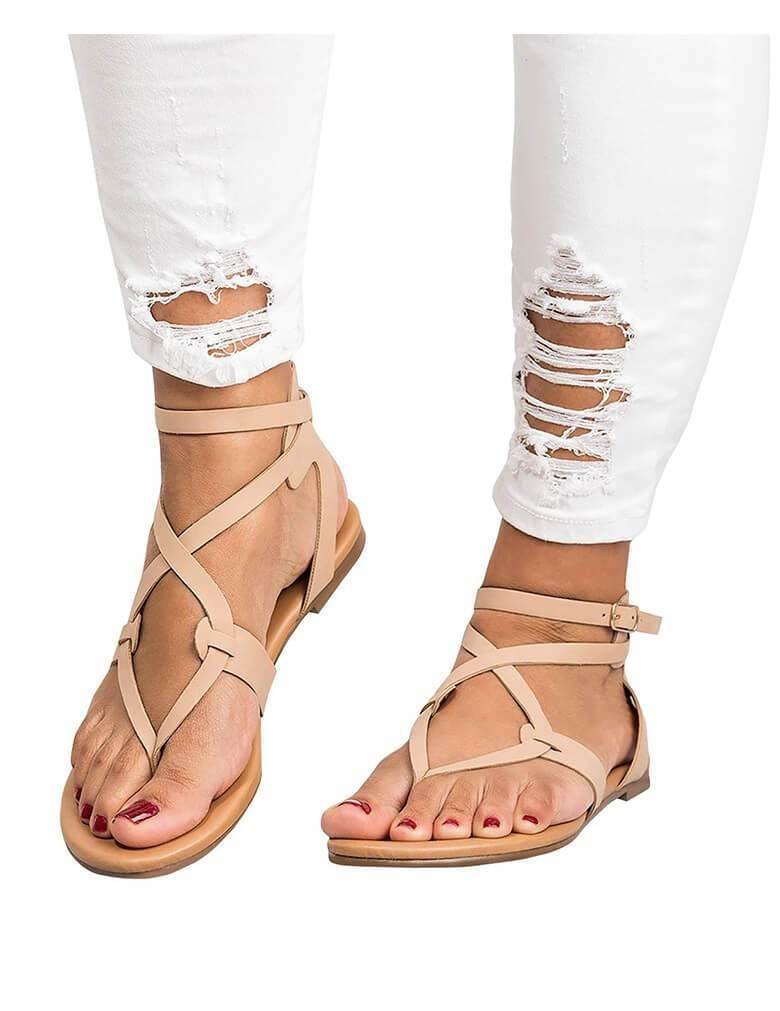d7d7f4a40 Gladiator Sandal Boots Gladiator Sandals For Women. Summer Casual Beach  Rome Style Gladiator Sandals Flats