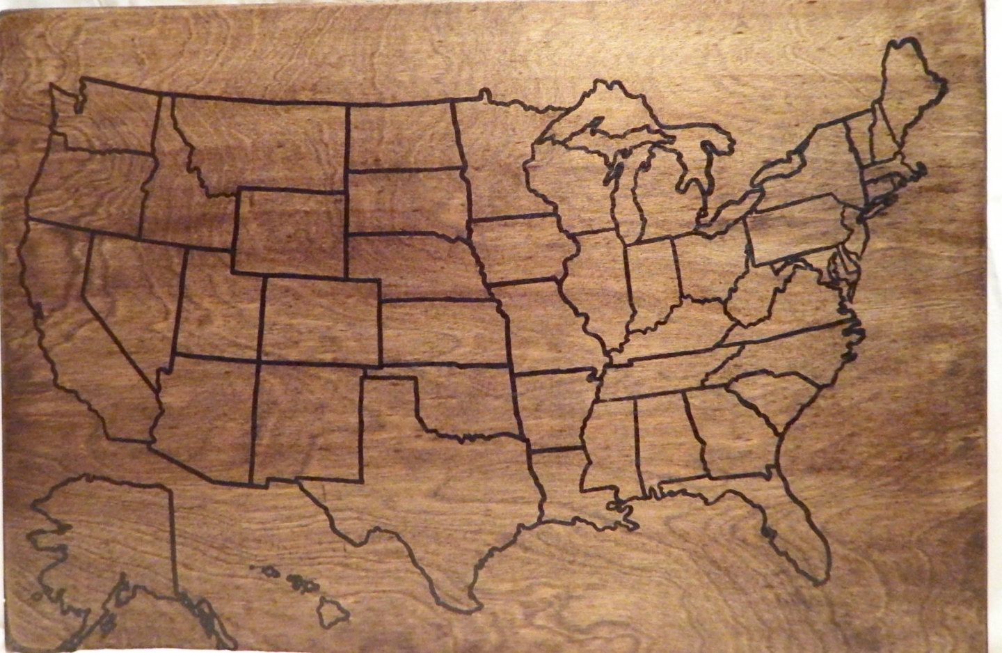 US Wood Map | Travel map | USA Travel Map | Personalized | Pin Map ...