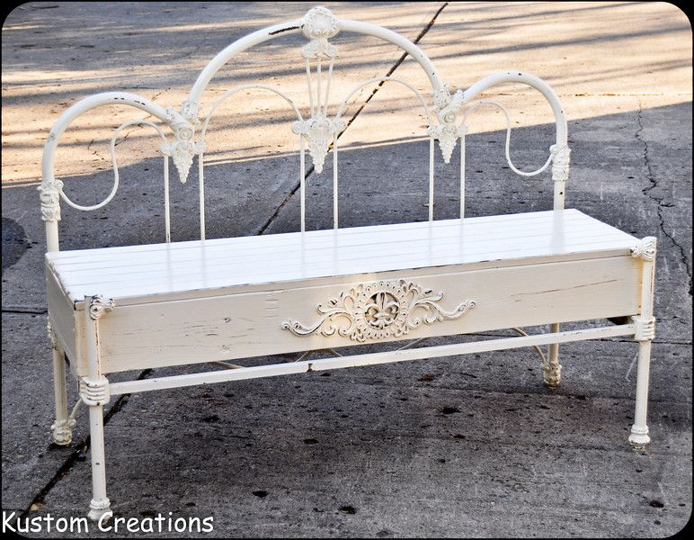 custom bench made from old wrough iron headboard footboard and bed frame