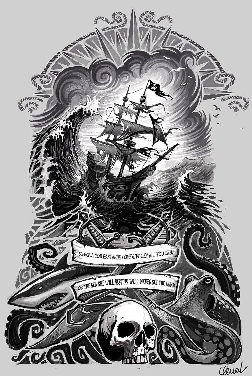 Clement Masson Illustrateur Tatouage Pirate Tatouage Nautique Manche Art De Pirate