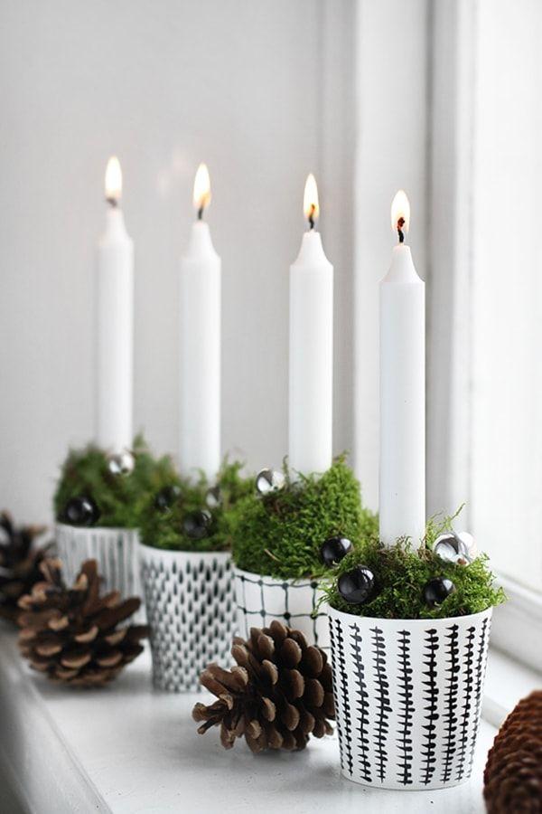 6 bonitos centros de mesa navideños Pinterest Velas, Centros de