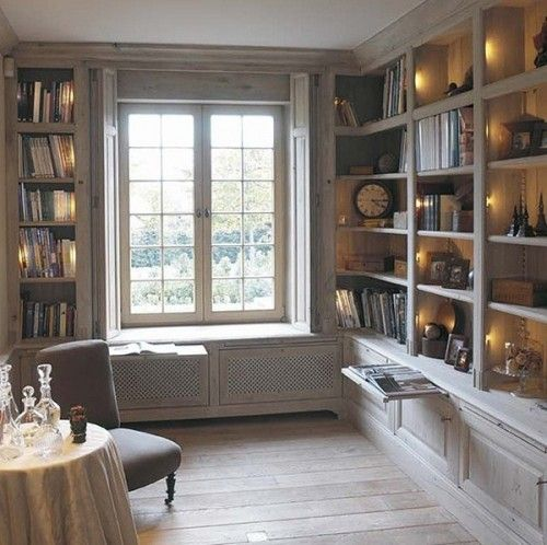 Built In Bookshelves Windowseat Pull Open Windows Shutters Thats Idea For The Library Schoolroom