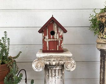 Red and Gray Church Birdhouse #churchitems