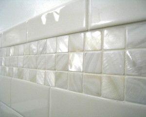 White 1 X Pearl Shell Tile