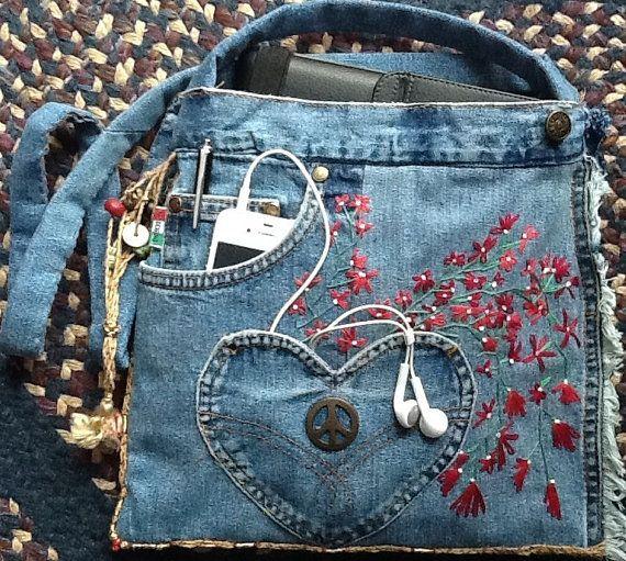 Upcycled Recycled Denim Bag by GretasGarb on Etsy, $750.00