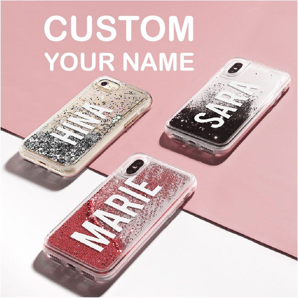 Personalized custom liquid glitter silver name text soft