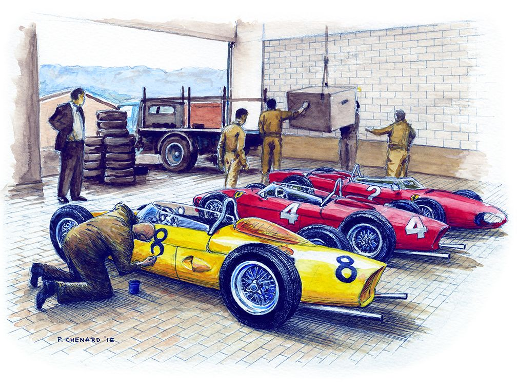 """Belgian driver Olivier Gendebien's Ferrari """"Sharknose"""" receiving it's number before the 1961 Belgian Grand Prix. He finished 4th in the race behind Phil Hill (car No.4), Wolfgang von Trips (car No.2), and Richie Ginther (car No.6, not pictured). Pencil, pen&ink and watercolours on 12""""x 9"""" (30.4cm x 22.8cm) watercolour paper © Paul Chenard 2015"""