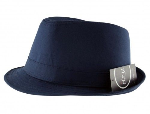 98f11a8cdc1b4 Mens Adult Trilby Fedora Hat Band Classic Style in Plain Navy Blue Navy  pinstripe suit with a navy fedora