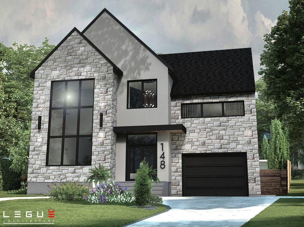 Notre plan de maison moderne Ë_148 est vendu directement en ligne et