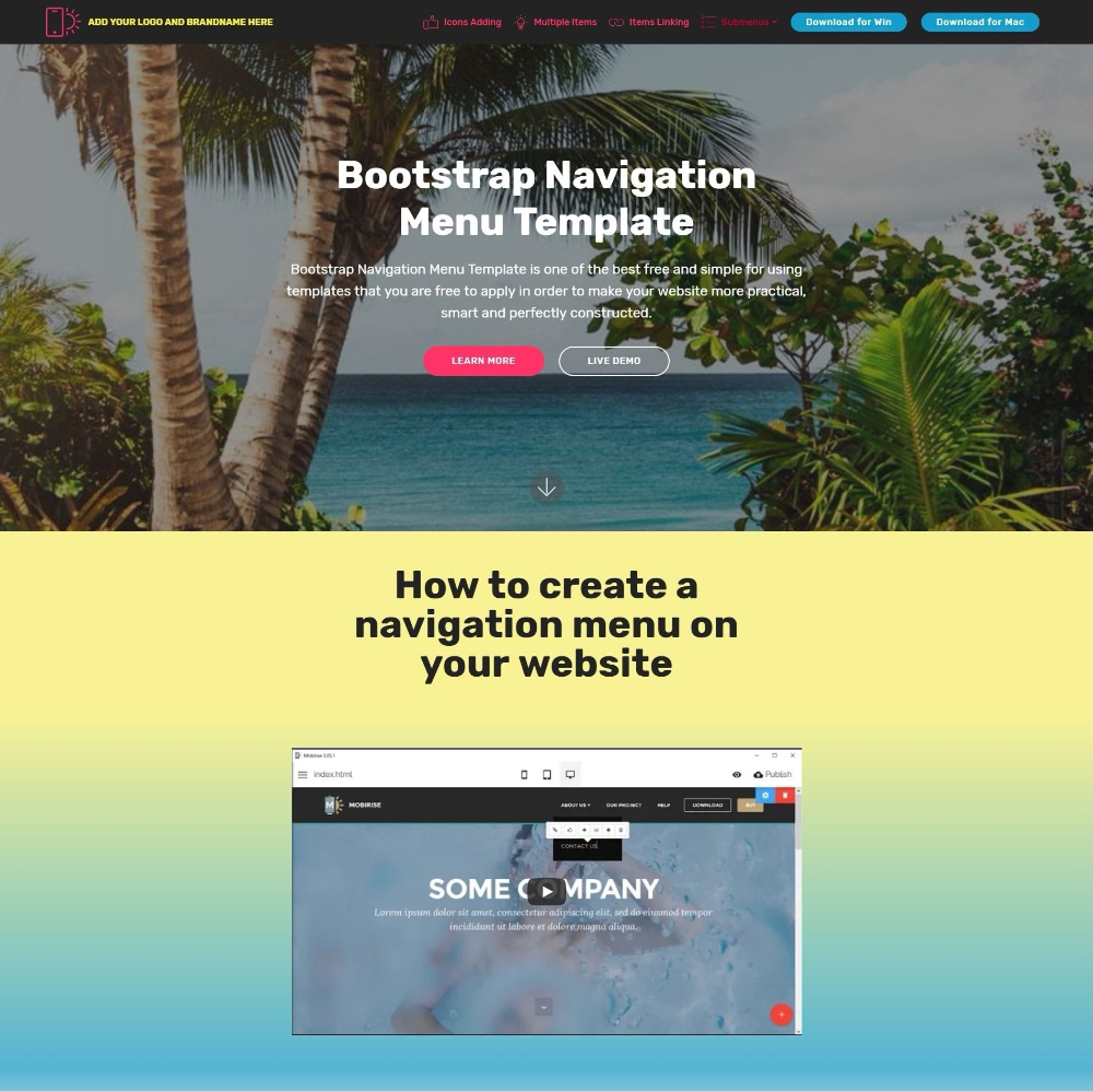 Bootstrap Navigation Menu Template For Html Drop Down Menu Templates Free Download 10 Professional Templates Menu Template Templates Free Download Templates