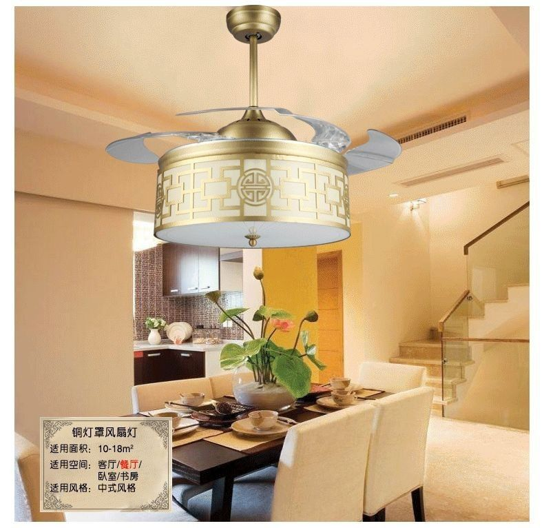 42Inch Copper Shade Ceiling Fan Lights Led Chinese Style Living Room