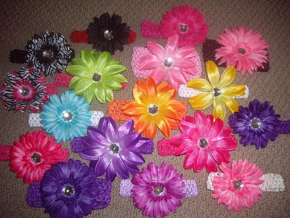 12 Piece Set Baby Flower Headbands - 6 Flower Clips and 6 Headbands - Choose Your Own Colors, hair accessory, baby hair, headband, baby bow on Etsy, $22.00