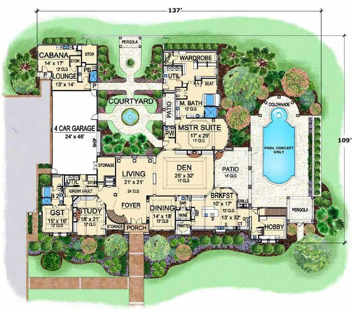 Mediterranean House Plan 4 Bedrooms 5 Bath 8647 Sq Ft Plan 63 307