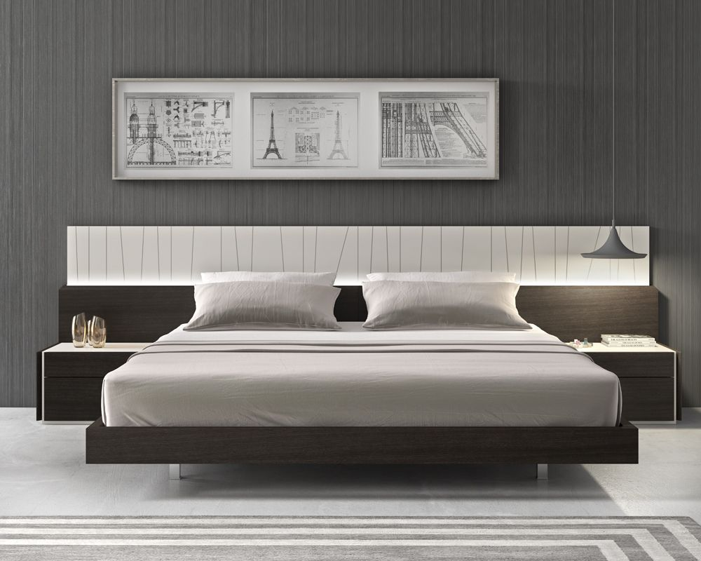 Exceptional Grey Lacquered Headboard With Light Technology Brown Bed. Made In Portugal.  Featuring A Simple