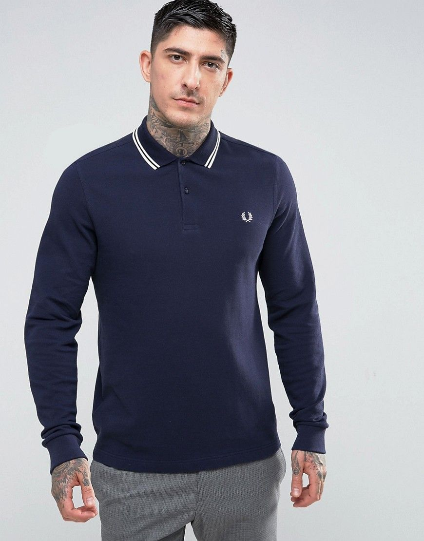 029db2a7 Get this Fred Perry's polo shirt now! Click for more details. Worldwide  shipping. Fred Perry Slim Fit Long Sleeve Tipped Polo In Navy - Navy: Polo  shirt by ...