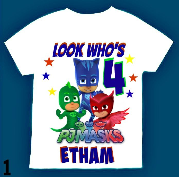 5bee2f04e Personalized PJ Masks Birthday Boy T- Shirt Personalized with child name  and age. Unisex PJ Masks Birthday T- Shirt. Choose Long Sleeve or Short  Sleeve ...