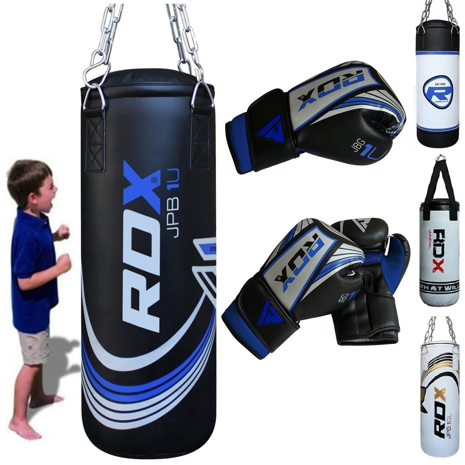 RDX 2FT Filled Heavy Kids Punch Bag Boxing Set With Gloves /& Chain MMA Training