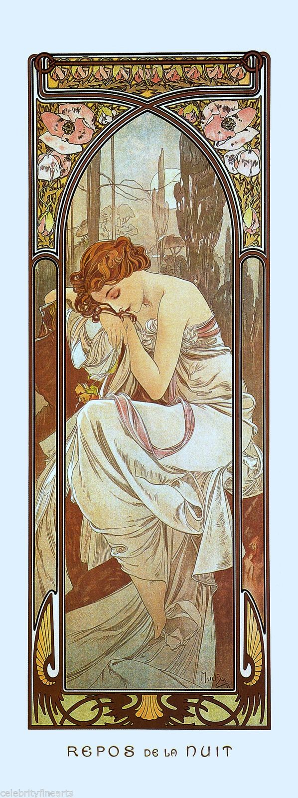 5 Prints Alphonse Mucha Art Nouveau Times of Day Night Waking Evening Rest NEW | eBay