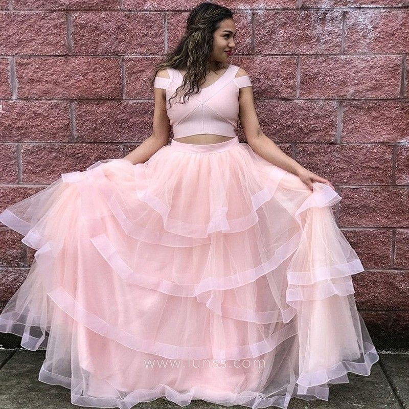 64eb12dc0edb5d Princess baby pink flounced tiered tulle two-piece ball gown. Cold shoulder  crop top