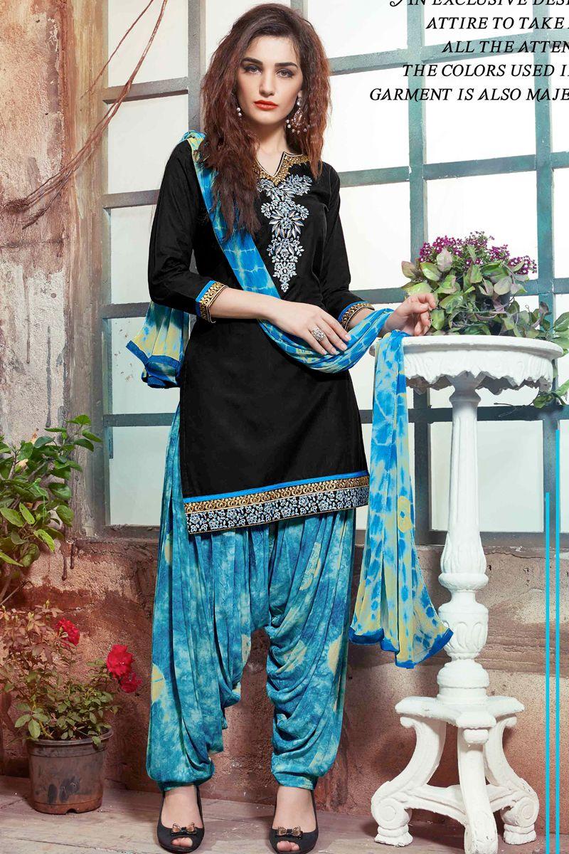 designer punjabi style patiyala black and sky blue dress with simple ...