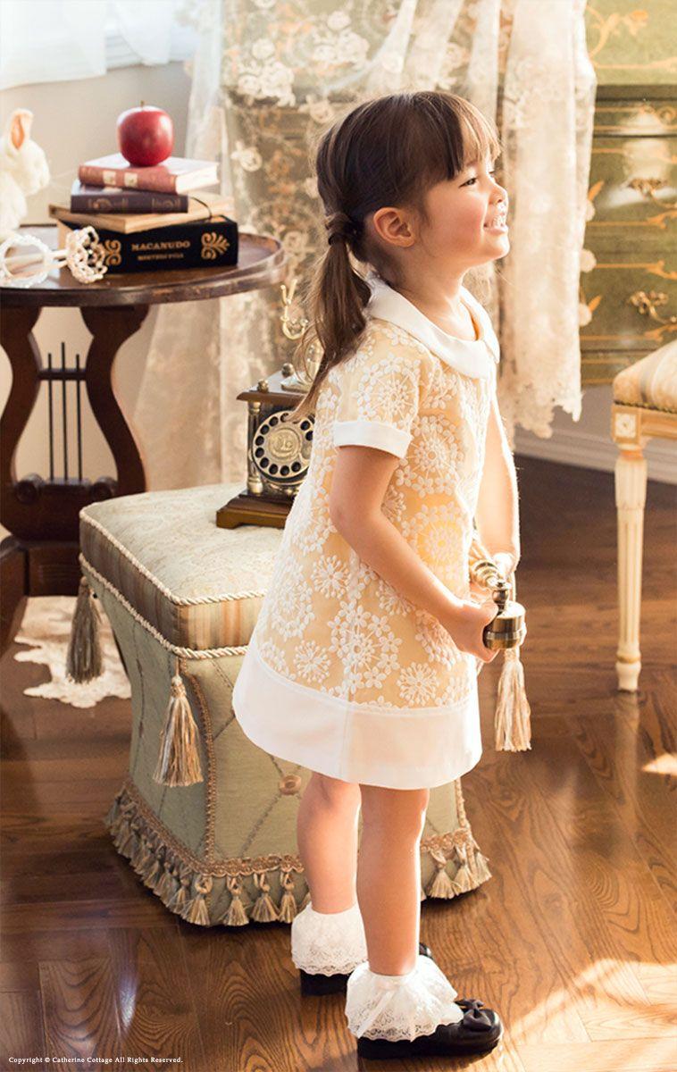 ddce4aa9e284f きちんと感のあるワンピ♪ MA700。子どもドレス 女の子 花柄刺繍白襟 ...
