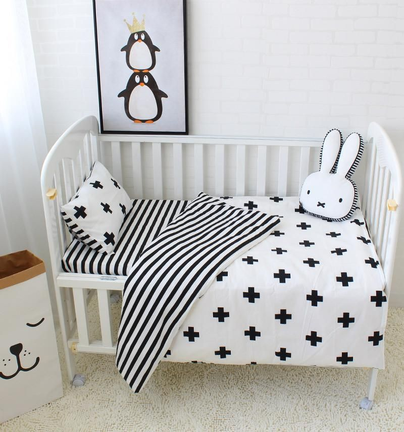 Baby 5pcs Cot Bedding Monochrome B 94 Black Baby Cribs Baby Bed Baby Bedding Sets