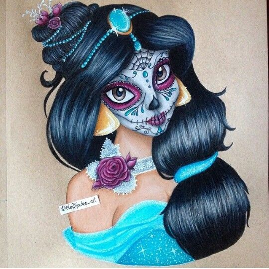 Princesse jasmine maquill e pour la f te des morts relooking princesses pinterest la f te - Maquillage fete des morts ...