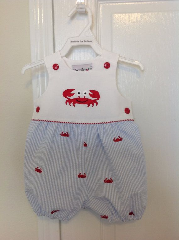 ab1cf589a Infant Boys Seersucker Romper with by MarilynsFunFashions on Etsy ...