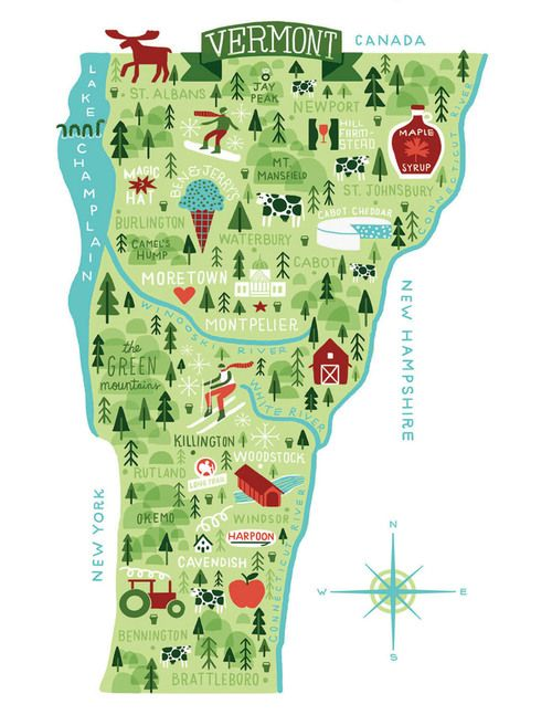 map of vermont breweries Vermont Map Illustrated Map Map Map Art map of vermont breweries