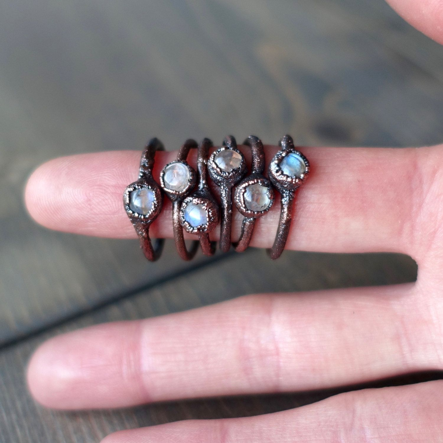 Moonstone rings | Stone ring | Moonstone jewelry | Electroformed ...