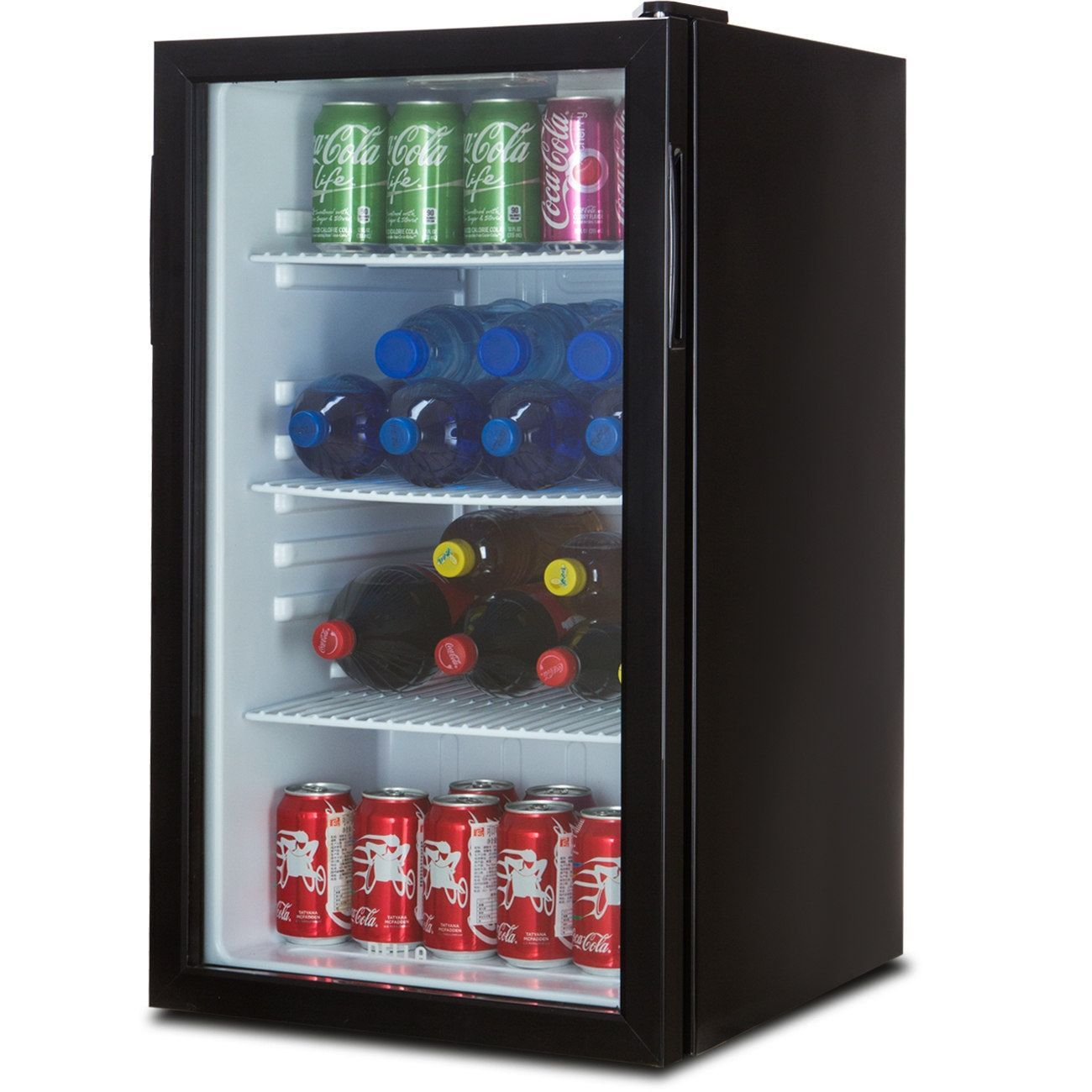 Della Beverage Refrigerator Cooler Compact Mini Bar Fridge Beer Soda Pop Reversible Glass Door Black