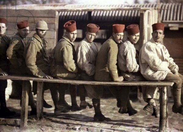 Group of Algerian soldiers following the retreat of the German army, Noyon, Oise, France, 1917 (autochrome)