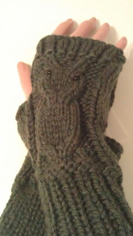 Owl fingerless mitts - bulky - $22