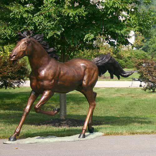 running horse bronze statue