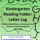 Kindergarten Reading Folder: Letter Log (Names, Sounds, and Handwriting)  This product is focused on encouraging support from home with Common Core...