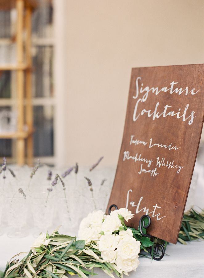 signature cocktails sign for an Elegant Tuscan inspired wedding