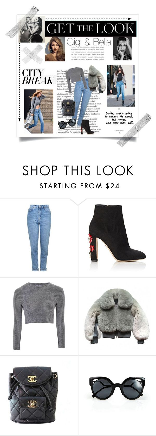 """""""Get the look:Gigi & Bella"""" by greekgodness ❤ liked on Polyvore featuring Topshop, Dolce&Gabbana, Glamorous, Marc Jacobs, Chanel, Fendi, GetTheLook and celebritysiblings"""