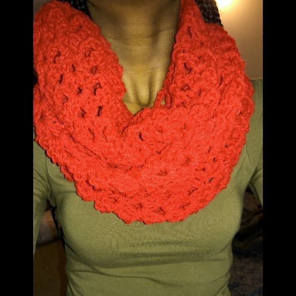 Crochet bean scarf RED Circle scarf  have a pattern Different ways to wrap Accessories Scarves & Wraps