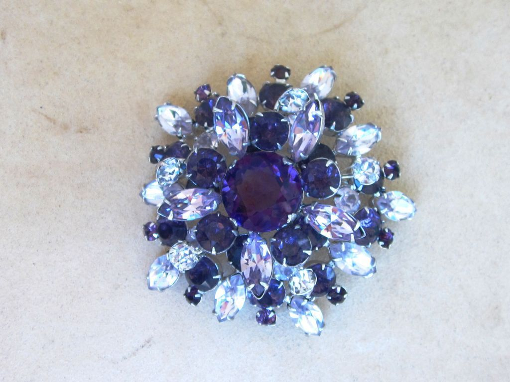 Schreiner-  Huge 3 inch Singed Vintage Masterpiece Brooch found on www.rubylane.com