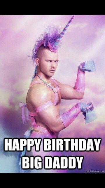 Big Daddy Unicorn Guy Happy Birthday Funny Glamour Shots