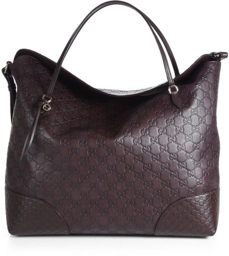 e6dd73de45f Gucci Bree Ssima Leather Tote in Black (CHOCOLATE)