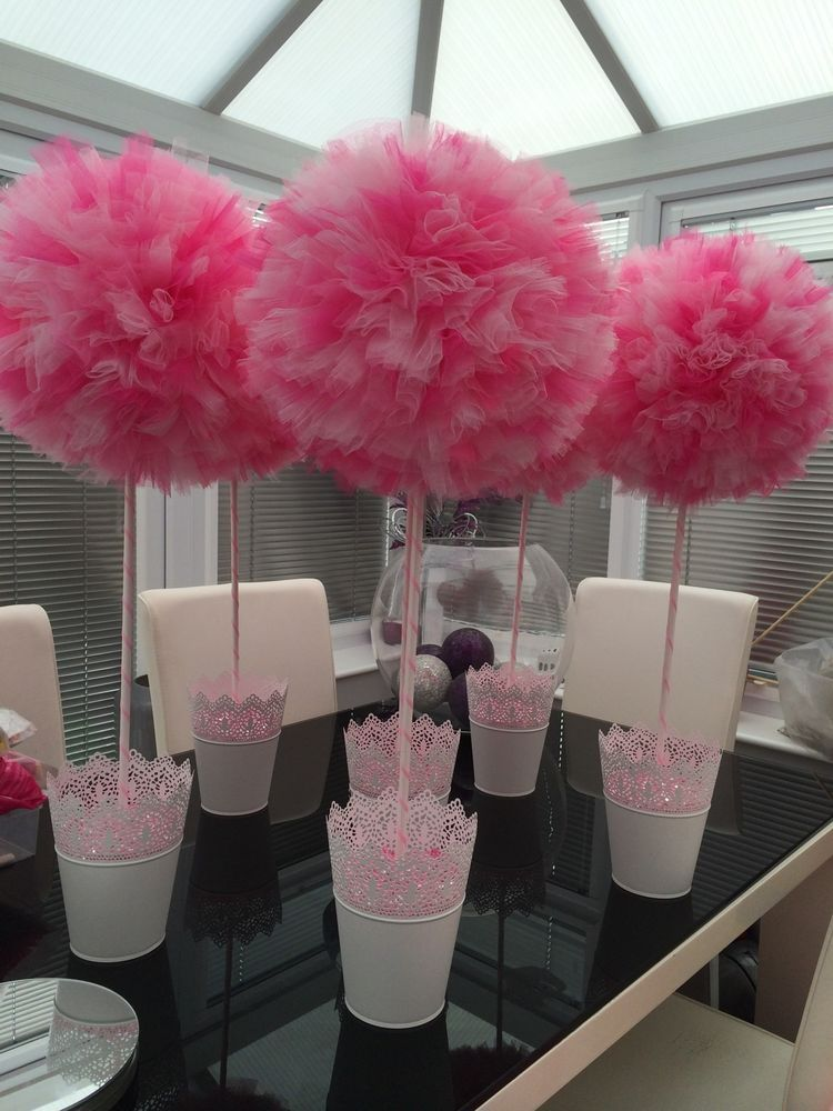 Handmade table centrepieces tulle topiary trees wedding