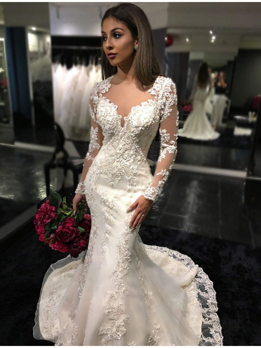 Mermaid long sleeves lace wedding dresses bridal gowns