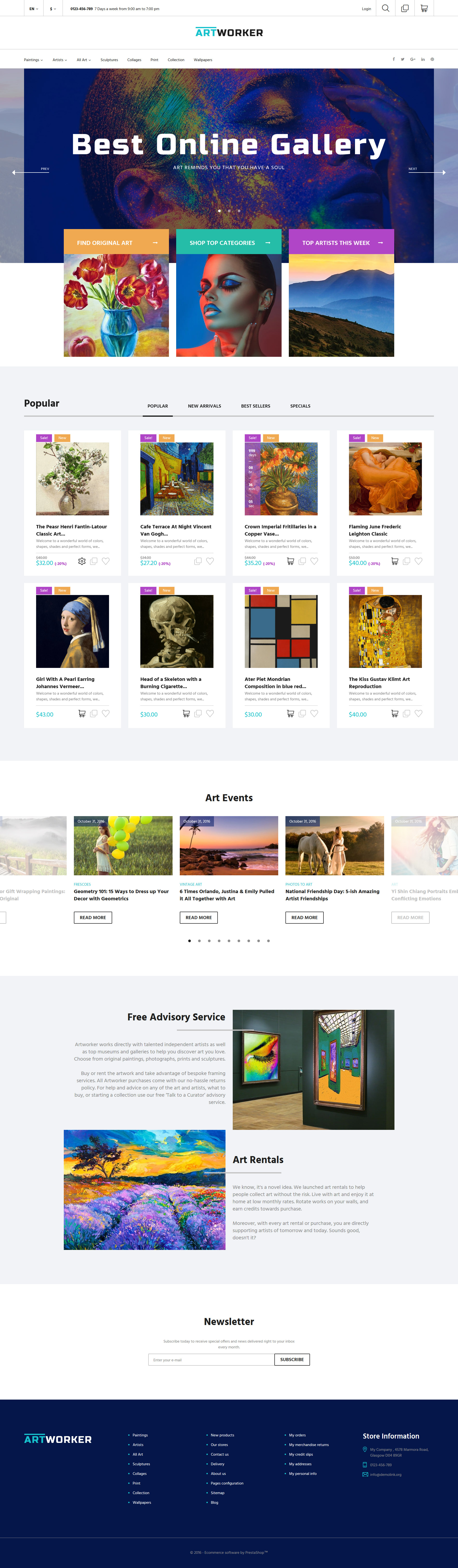 ArtWorker Online Gallery PrestaShop Theme Httpswww - Online art gallery website template