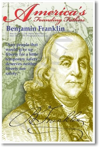 Benjamin Franklin  America's Founding Fathers Teaching Supplies Social Studies US History POSTER Home & Garden
