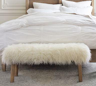 Mongolian Faux Fur Bench Bench Decor Faux Fur Bedding