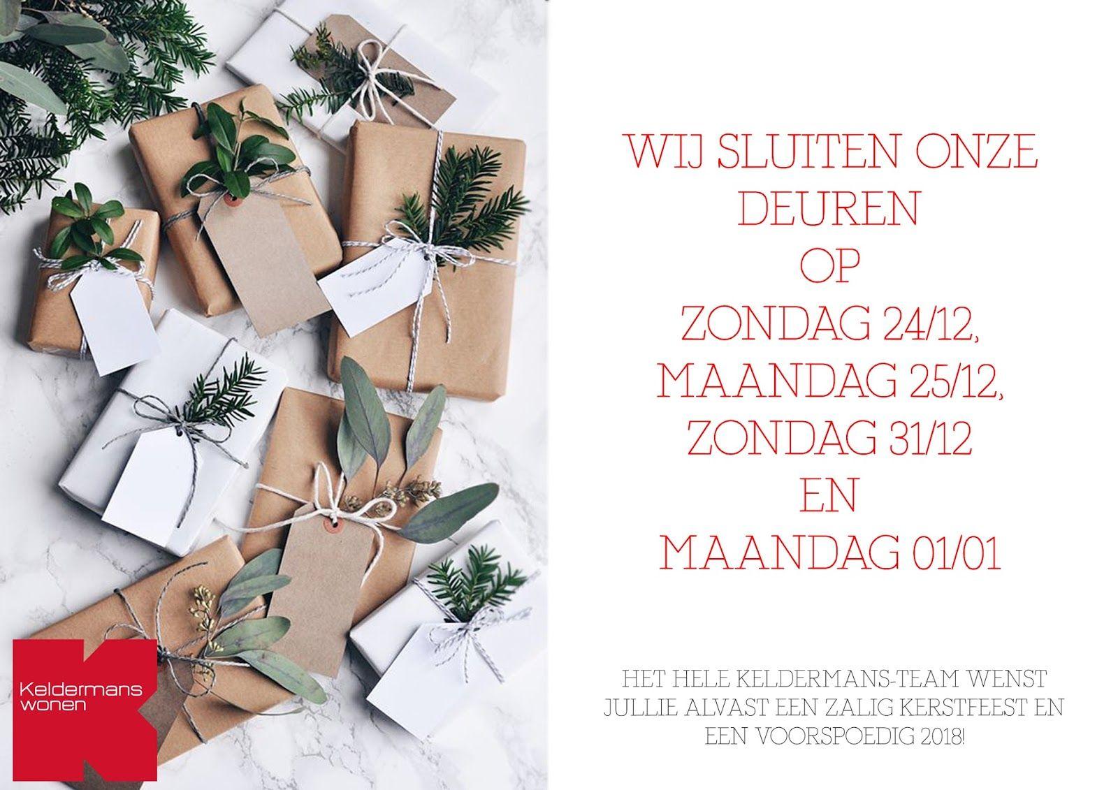 Openingsuren kerst- en eindejaarsperiode Keldermans Wonen