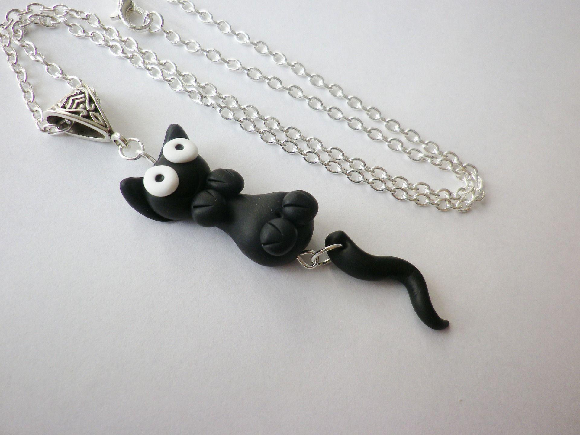 Bien-aimé Collier chat noir rigolo mignon yeux contents fait main en pate  TG39