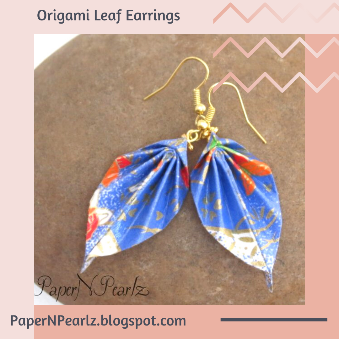 Yet another #origami #leafearrings made from chiyogami paper. Love the gold strands in the paper!    #origamijewelry #chiyogami #paperfolding #origamilove #handcrafted #papernpearlz #origamiindia #creativediy #oneofakind #OOAK